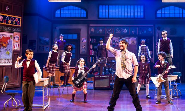 Alex Brightman and the kid band from 'School of Rock: The Musical.'