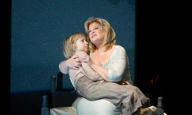 Anthony Reznikovsky as Marie's child and Deborah Voigt as Marie in Berg's 'Wozzeck.'