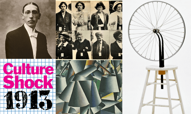 Clockwise from top left: Igor Stravinsky; suffragettes photographed in 1913; Bicycle Wheel by Marcel Duchamp; detail from Woman with Pails: Dynamic Arrangement by Kazimir Malevich