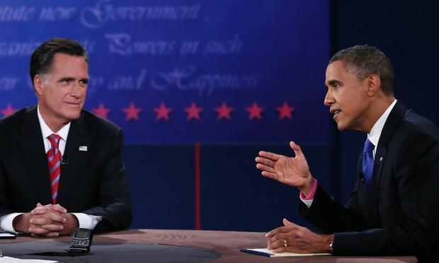 U.S. President Barack Obama (R) debates with Republican presidential candidate Mitt Romney at Lynn University