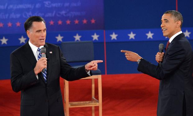 US President Barack Obama and Republican Presidential nominee Mitt Romney debate on October 16, 2012 at Hofstra University in Hempstead, New York.