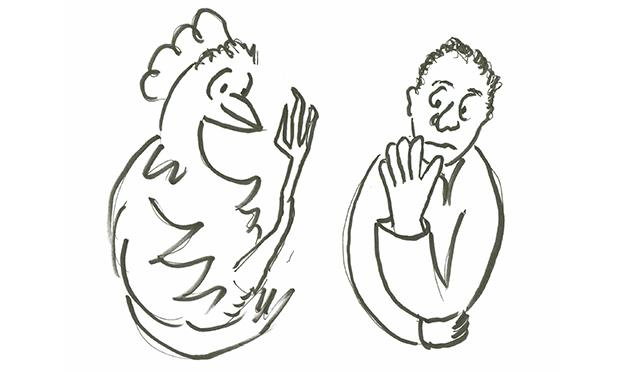 Drawing of a chicken and a man.