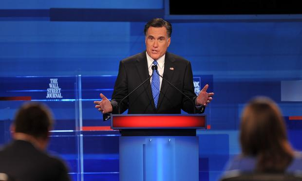 Republican presidential hopeful Mitt Romney takes part in a South Carolina Republican presidential debate in Myrtle Beach, South Carolina, January 16, 2012. South Carolina
