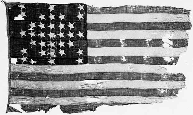 The flag from Fort Sumter, where the first shots of the Civil War were fired on April 12, 1861.