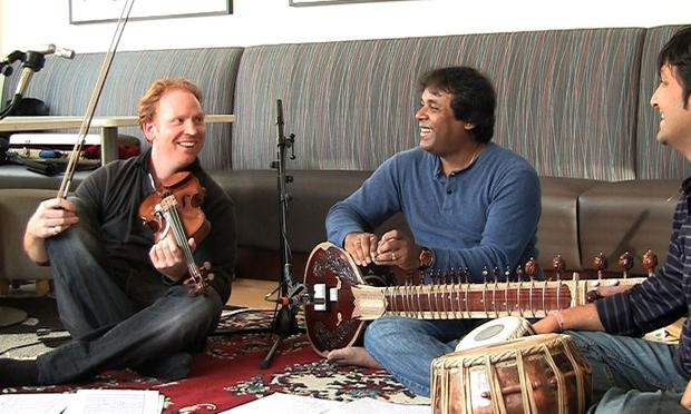 Daniel Hope on violin, Gaurav Mazumdar on sitar and Vishal Nagar on tabla.