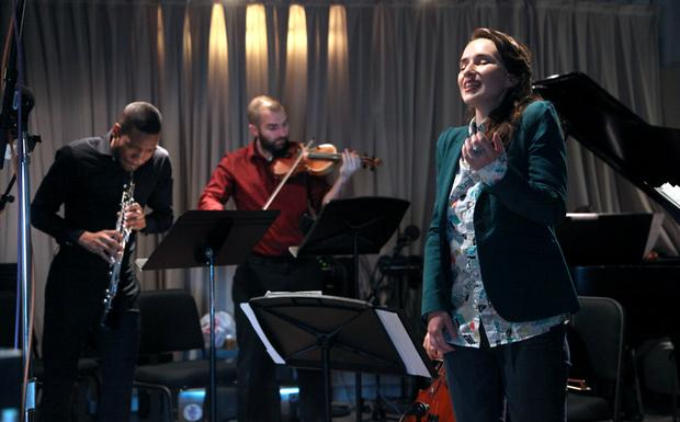 Hassan Anderson, Brendan Speitz and Ariadne Grief of SHUFFLE Concert perform in the WQXR studios.