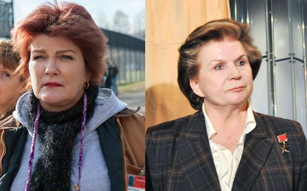 Kate Mulgrew as Red, on left, and Tereshkova in 2001, on right.