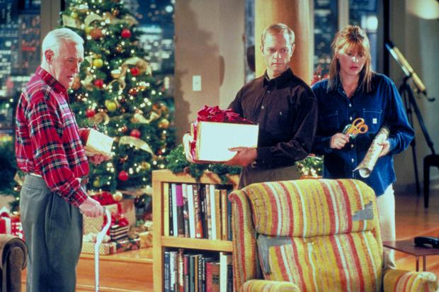 John Mahoney, David Hyde Pierce and Jane Leeves in the sitcom Frasier, including Martin Crane's iconic Barcalounger.
