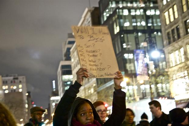 A group of demonstrators marched through Union Square on December 3, protesting a grand jury decision not to indict a white police officer in the chokehold death of Eric Garner in July.