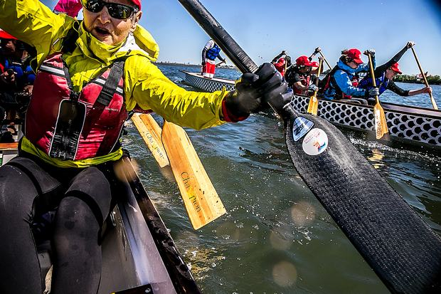 The Empire Dragon Boat racers, a group of cancer suvivors, brave the polluted waters of Flushing Bay.