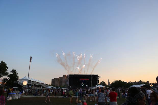 Fireworks from afar during Bjork's set at the GovBallNYC stage at Governors Ball.