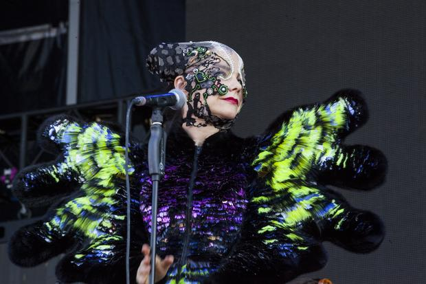 Bjork performs on the GovBallNYC stage at Governors Ball on Randall's Island in New York on June 6, 2015.