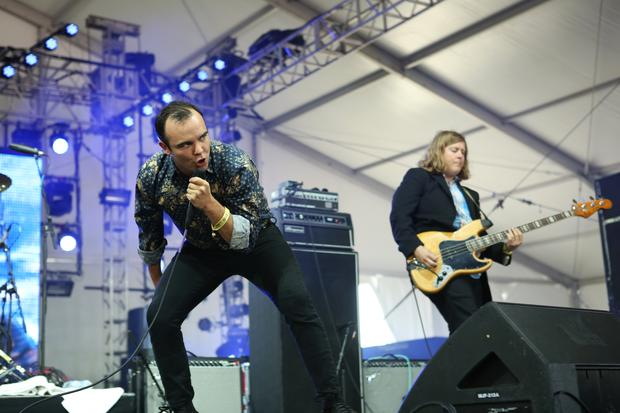 Future Islands performs in the Gotham tent at Governors Ball on Randall's Island in New York on June 6, 2015.