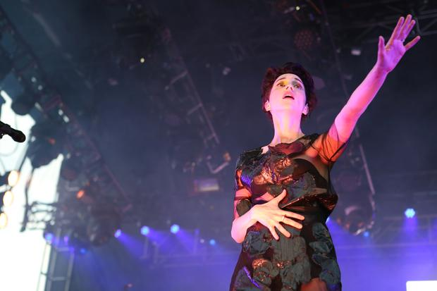 St. Vincent's Annie Clark performs on the Big Apple Stage at Governors Ball on Randall's Island in New York on June 5, 2015.