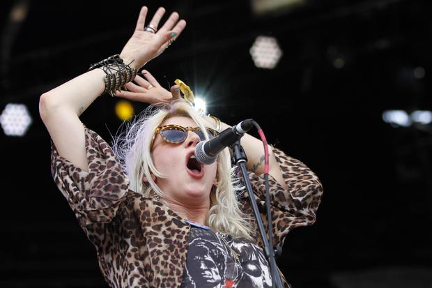 White Lung's Mish Way performs on the Honda Stage at Governors Ball on Randall's Island in New York on June 6, 2015.