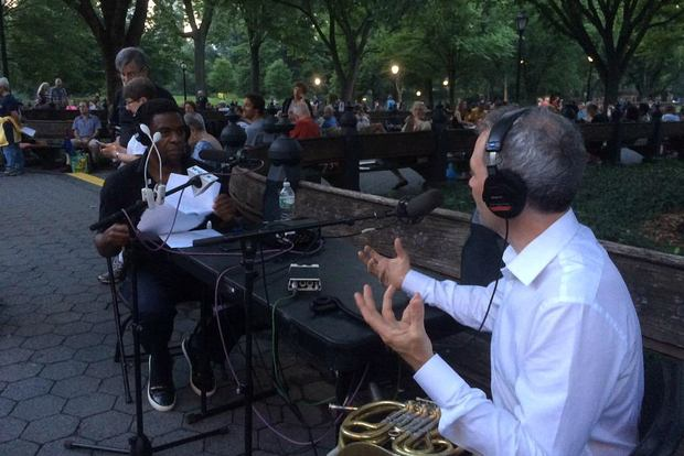 Host Terrance McKnight speaks with BSO principal horn player James Sommerville