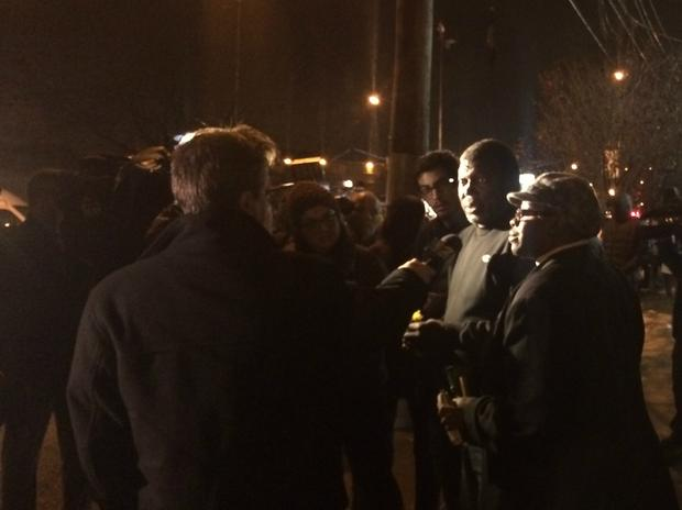 On Wednesday evening, Eric Garner's father Ben Garner visited the site where his son was put in a police chokehold.