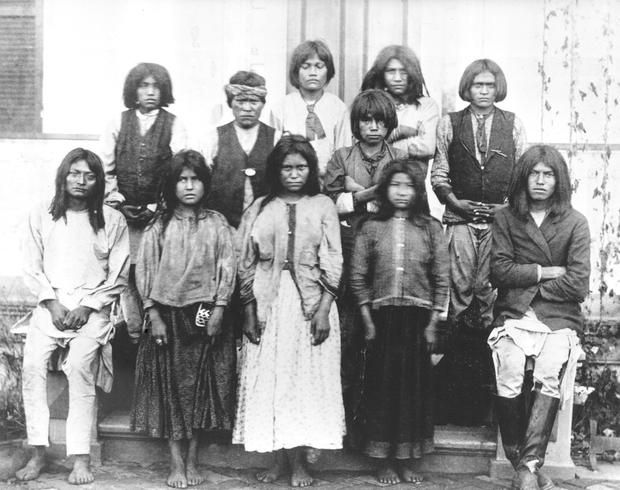 Chiracahua Apaches as they arrived at Carlisle from Fort Marion, Florida, November 4, 1886.