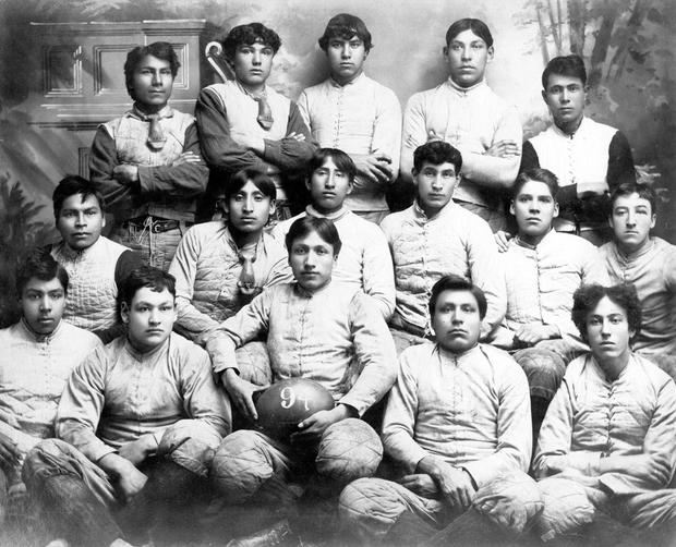 Group photo of 1894 football team at Carlisle Indian School