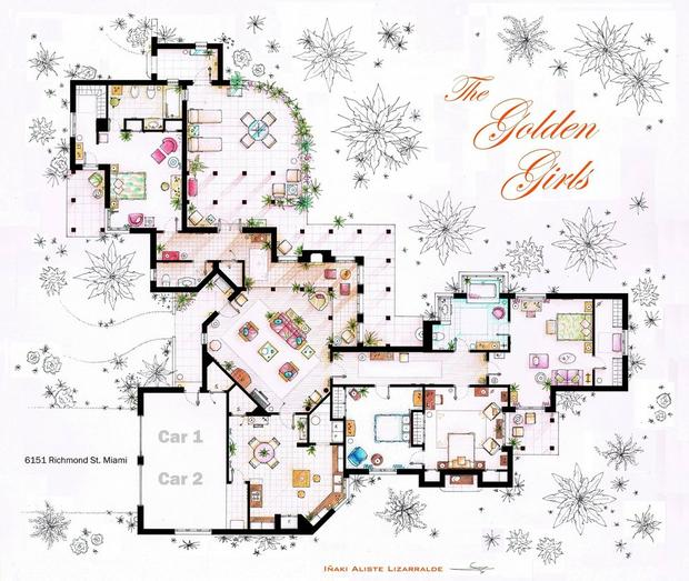 Floor Plans for Your Favorite Sitcom Homes Studio 360 WNYC – Sitcom House Floor Plans