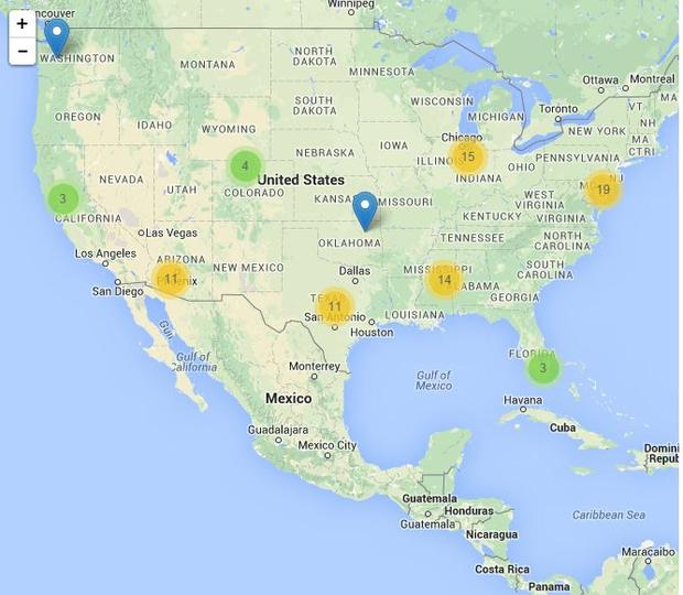 Screenshot from ICE Detention Facility Locator Map