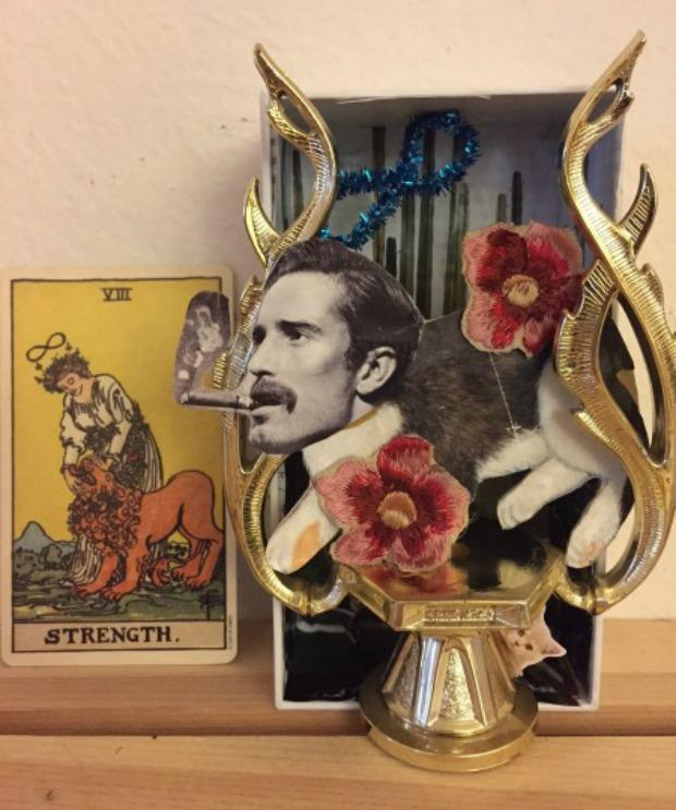 At left, the tarot card 'Strength,' at right, Charis Stiles' interpretation in diorama form