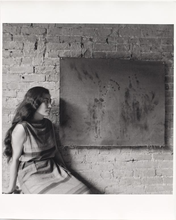 Yoko Ono with Painting to See in the Dark (Version 1), AG Gallery, New York, 1961