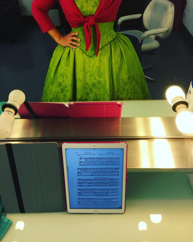 Daniela Mack practices with her digitized score of The Barber of Seville.