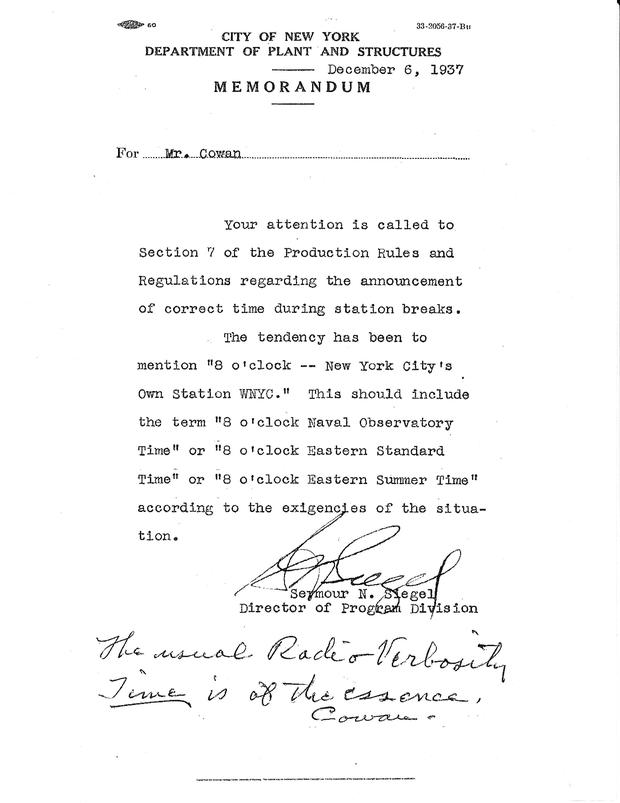 Memo from WNYC Station Program Director Seymour N. Seigel to Chief Announcer Tommy Cowan, December 6, 1937.
