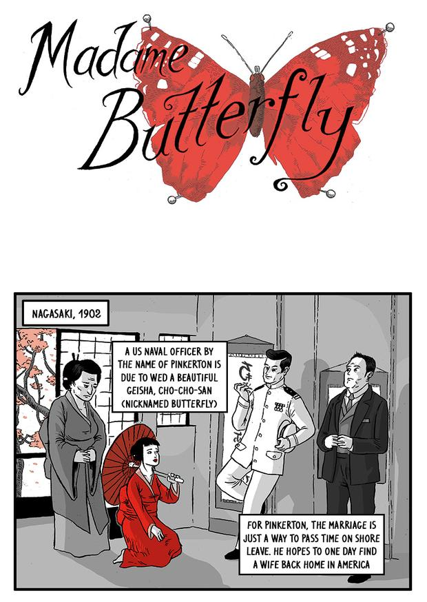 'Madama Butteffly' in comic strip fashion. Click above for full strip.