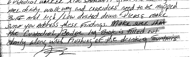 A portion of a custodial log from a public school in Newark with a notation by a supervisor:'Make sure the Custodial/Boiler Log Book is Filled out daily along with flushing of the drinking fountains.'