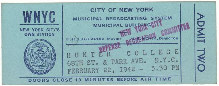 Third annual WNYC American Music Festival ticket from 1942.