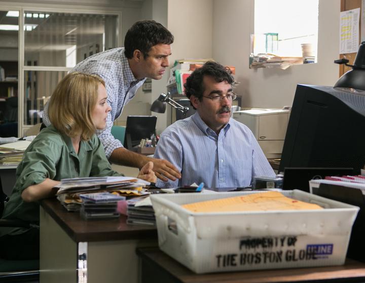 "Rachel McAdams, Mark Ruffalo and Brian d'Arcy James play reporters at ""The Boston Globe"" in the Oscar-nominated film ""Spotlight"""