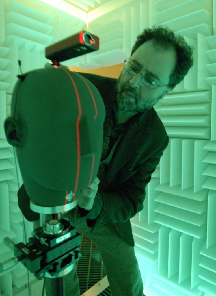 Edgar Choueiri in the anechoic chamber of his 3D Audio and Applied Acoustics lab