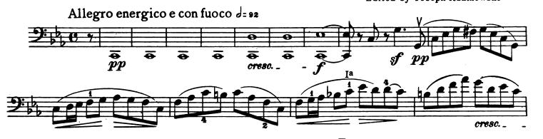 The beginning of the cello part for Mendelssohn's Piano Trio No. 2 in C minor