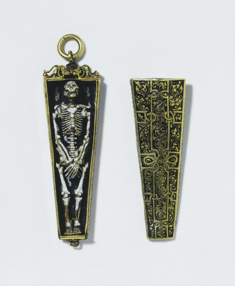A memento mori pendant charm, meant to be hung from a chain