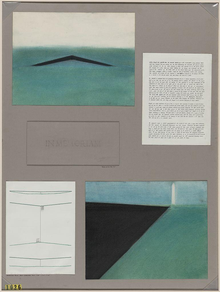 A watercolor from Maya Lin's entry to the Vietnam Veterans Memorial 1981 design competition. She designed the memorial at only 21 years old as part of her architecture classwork at Yale University.