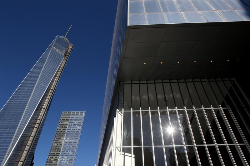 1 World Trade Center (l), 7 World Trade Center (center), 4 World Trade Center (R) in November 2013.