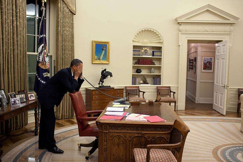 March 19, 2010. The President in the Oval Office pressing Representatives to vote for the health care reform bill. In those final days before the vote, the President made hundreds of calls.