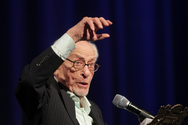 Actor Eli Wallach speaks during the Museum of Tolerance International Film Festival Gala in 2010 in Los Angeles, California.