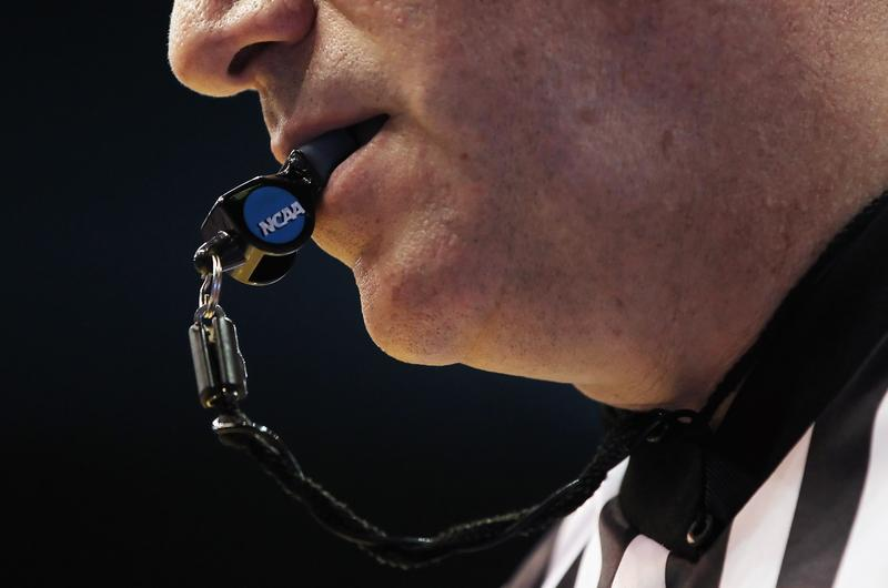A detail of a referee's whistle during the game between the Texas A&M Aggies and the Kansas Jayhawks on March 2, 2011 at Allen Fieldhouse in Lawrence, Kansas.