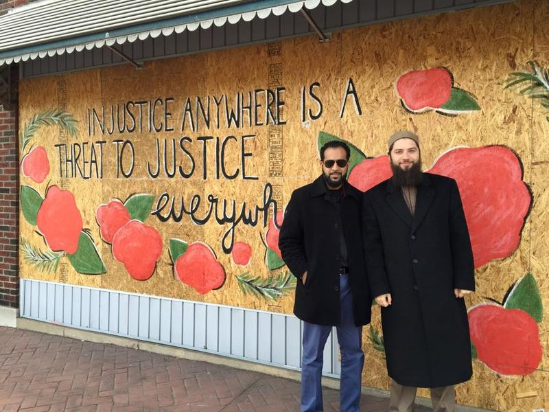 Hassan Shibly (pictured right) with a friend while visiting Ferguson, Missouri in February 2015.