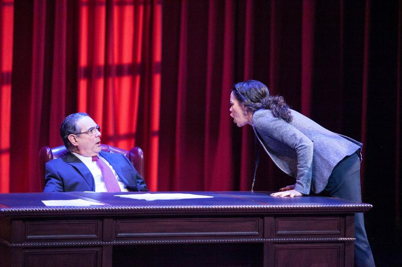 (L to R) Edward Gero as Supreme Court Justice Antonin Scalia and Kerry Warren as Cat in The Originalist at Arena Stage at the Mead Center for American Theater March 6-April 26, 2015.