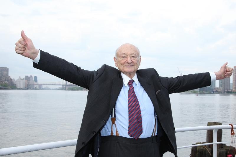 Ed Koch celebrates at the renaming of the Queensboro Bridge in his honor at The Water Club Restaurant on May 19, 2011