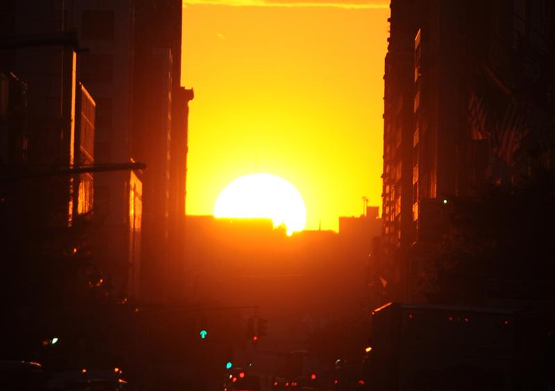 A 2011 view of 'Manhattanhenge' from 34th Street, Neil deGrasse Tyson's favorite vantage point