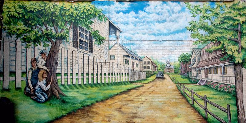 Mural depicts a scene from the Harper Lee novel 'To Kill a Mockingbird,' Monroeville, Alabama, 2010.