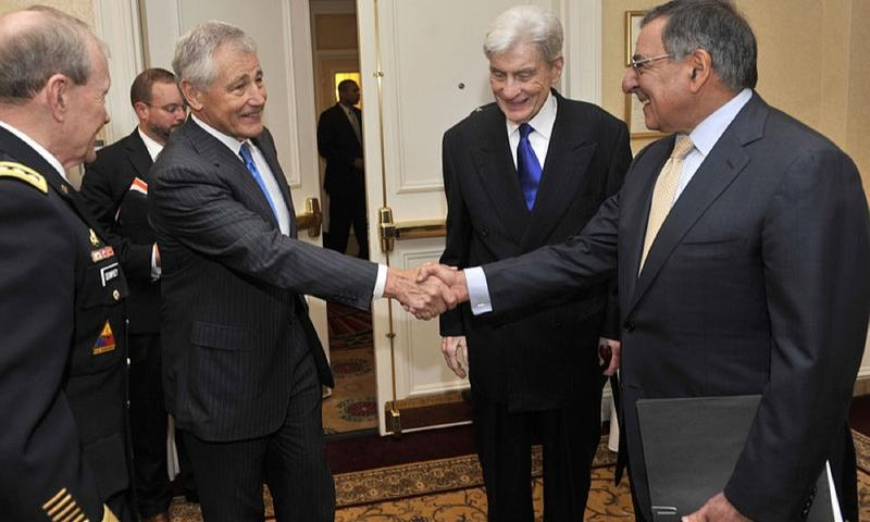 Former senator Chuck Hagel with Secretary of Defense Leon Panetta.