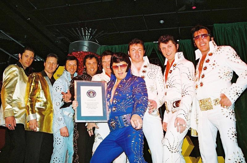 A group of Elvis impersonators with a World Record.