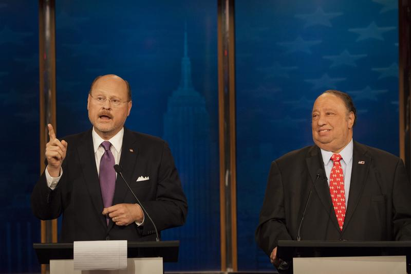 Former MTA chairman Joe Lhota and businessman John Catsimatidis at their final pre-primary debate.