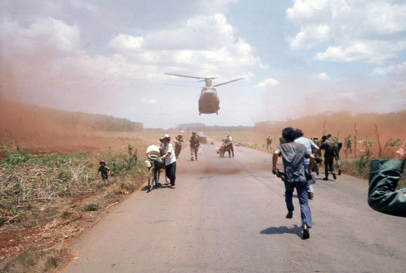 South Vietnamese flee Saigon in April 1975 with the help of the U.S. military.